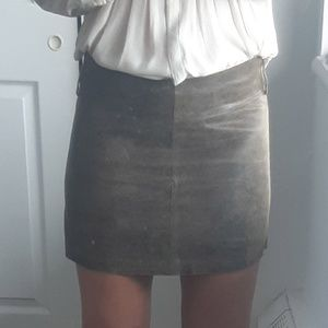 Distressed Genuine leather mini skirt- AnneX